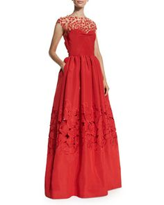 Floral-Embellished Ball Gown, Cardinal by Oscar de la Renta at Neiman Marcus.