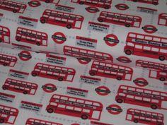 """Jersey """"London Traffic"""" mit Bussen in rot auf weiß von StoffeandFabrics auf DaWanda.com"""