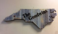 """North Carolina State Shape Rustic Wood Sign Hanger 32"""" x 12 1/4""""  Personalize Cutout for Wedding Guestbook by CustomDecorAndGifts on Etsy"""