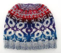 Hand Knit  Wool Snowflake Pattern Fair Isle Hat Beanie by EacArt