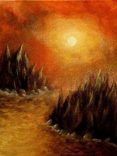 Original acrylic on 6x8 canvas panel painting  Sun by Pugcasso, $22.50