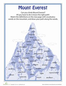 Mount Everest Vocabulary Worksheet