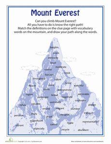 Mount Everest Vocabulary Worksheet