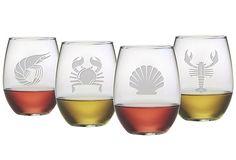S/4 Asst. Clambake Stemless Wineglasses on OneKingsLane.com
