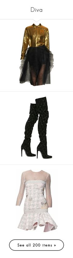 """""""Diva"""" by ohnopaula ❤ liked on Polyvore featuring dresses, set, shoes, boots, shoes and boots, balmain, heels, black glitter boots, above-knee boots and above the knee boots"""
