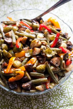 Easy Balsamic Roasted Vegetables - Prep them ahead of time and just throw them in the oven before dinner! It's a perfect side dish for a holiday potluck.   PerrysPlate.com