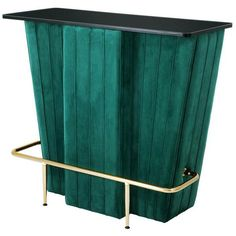 Eichholtz Bolton Bar Teal Velvet Champagne Gold Finish Black Glass (€1.480) ❤ liked on Polyvore featuring home, kitchen & dining, bar tools, green, eichholtz, tube rack, tube storage rack and storage racks