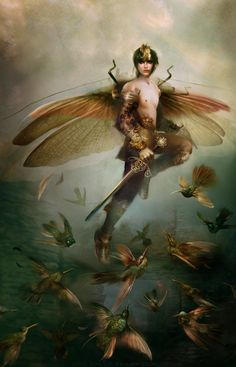 by Bente Schlick --I love the male faeries, as you do not see so many of them. Magical Creatures, Fantasy Creatures, Male Fairy, Kobold, Nature Spirits, Fantasy Kunst, Wow Art, Fairy Art, Fantasy Artwork