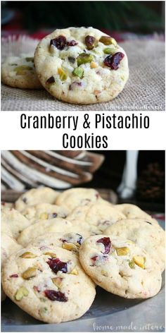 These Cranberry and Pistachio Cookies are an easy Christmas cookie recipe are packed with white chocolate, dried cranberries, and pistachios. Easy Christmas Cookie Recipes, Holiday Cookies, Christmas Baking, Christmas Sweets, Christmas Holiday, Delicious Desserts, Dessert Recipes, Sweet Desserts, Pistachio Cookies