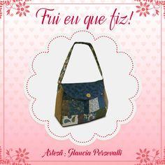 Bolsa feita com tecidos Poá e Cashmere pela artesã Glaucia Persevalli.
