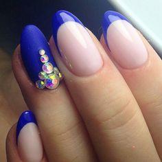 @pelikh_Beautiful blue nails, Beautiful nails, Beautiful winter nails, Christmas nails, Fall nails with rhinestones, Nail designs with pattern, Nails with rhinestones ideas, New year nails ideas 2017