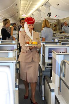 Emirates Airlines - A380 Business Class Cabin.