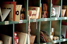 Craft supply storage area.