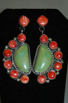"""vintage Navajo Spiney Oyster and Green Apple Gaspeite sterling earrings over 2 """" long"""