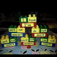 Love this idea too! Simply label large legos with the parts of contractions and then label others with the actual contraction. Mix them all up and have students put them all together, matching the parts with their contraction.
