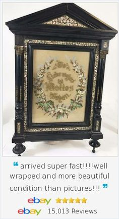 """Remarkable piece of completed cross stitch from Germany, Victorian Era. Saying translates roughly into """"Where Love Lives, God is Cherished.""""  Frame itself is remarkable with gleaming Abalone Mother of Pearl mosaics.   Perforated Cross Stitch with golden beads, substantial size of 24"""" x 15""""."""