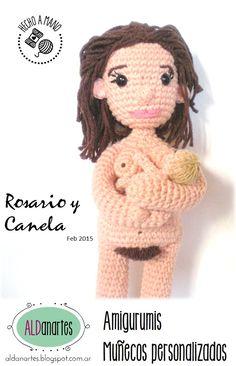 muñeca de parto con bebé. tejida a pedido
