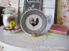 Chic Rooster Left Plate for Dollhouse by alavenderdilly on Etsy, $4.00