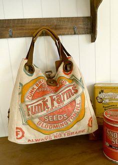 vintage seed sack bags Grain Sack, Canvas Leather, Feed Sacks, Feed Sack Bags, Vintage Bags, Logo Vintage, Bloomington Illinois, Bolsas Michael Kors, Western Wear Ladies