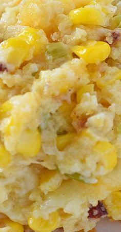 Creamy Bacon Corn Casserole #casserole #sidedish #holidayrecipes #jiffy #bacon #creamcheese