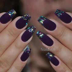 25 Fun Ways to Wear Ballerina Nails Purple Matte & Broken Glass Coffin Nail Design Gradient Nails, Gold Nails, Matte Nails, Fun Nails, Acrylic Nails, Holographic Nails, Solid Color Nails, Nail Colors, Bridal Nails