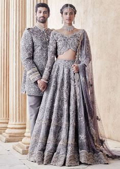 The Stylish And Elegant Lehenga Choli In Grey Colour Looks Stunning And Gorgeous With Trendy And Fashionable Embroidery . The Satin Fabric Party Wear Lehenga Choli Looks Extremely Attractive And Can A. Pakistani Bridal Dresses, Bridal Lehenga, Lehenga Choli, Indian Dresses, Indian Outfits, Pakistani Clothing, Sabyasachi, Party Kleidung, Lehenga Online