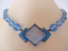 Vintage Art Deco Blue Czech Satin Glass and Crystal Necklace