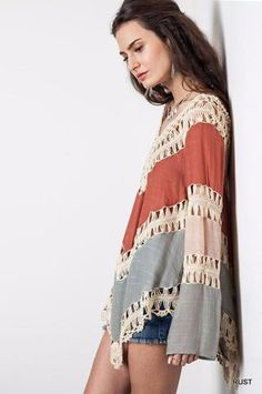 ca92e7f6b5 Bohemian Crochet Hollow Out Cover-up - Blue   Rust. Jumpers For WomenSweaters  For WomenWomens ...