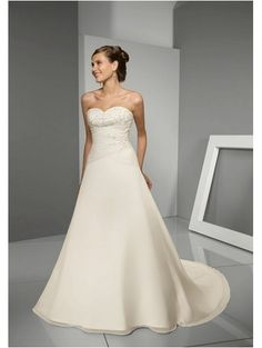 A-Line Chapel Train Sweetheart Empire Waist Pleated Long Satin Ivory Simple Wedding Dresses