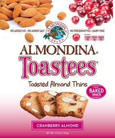 Like all Almondina® products it has no cholesterol, no added fat, salt, trans fat, or preservatives and is dairy free. Toastees™ are deliciously Snackable & Crunchy!