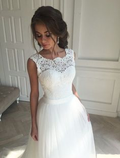 Open-Back Sash Sleeveless Lace Simple A-line Wedding Dresses_Wholesale Wedding Dresses, Lace Prom Dresses, Long Formal Dresses, Affordable Prom Dresses - High Quality Wedding Dresses - Yesbabyonline.com