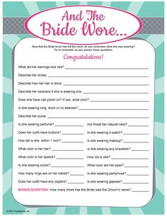 And The Bride Wore...  Whole website of different bridal games