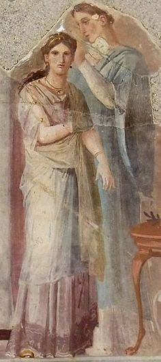 Roman fresco Dressing a priestess or bride, found in the palaestra of the Forum Baths at Herculaneum