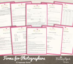 photography forms templates instant download by honeyspotdesigns 2500