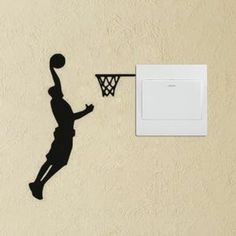 YINGKAI Athletic Basketball Player Dunking on Light Switch Decal Vinyl Wall Decal Sticker Art Living Room Carving Wall Decal Sticker for Kids Room Home Window Decoration Wall Painting Decor, Home Decor Wall Art, Wall Stickers Murals, Wall Decal Sticker, Deco Design, Wall Design, Basketball Wall, Wall Drawing, Living Room Art