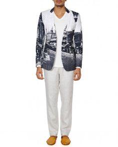 White Jacket with Digital Prints