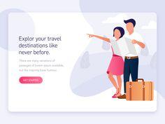 Travel app landing page by Ketan