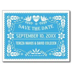 Papel picado love birds blue wedding Save the Date Postcard