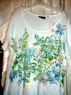 AVENUE WHITE MULTI COLORED SS TOP WITH BEADS SZ 30-32