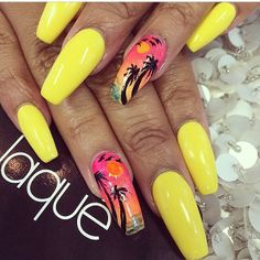 Yellow nails + shape, not the accent nail for me