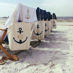 Last Sail before the Veil Anchor Monogram Totes