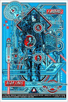 I, Borg Star Trek the Next Generation poster by Jesse Philips on sale details Star Trek Borg, Star Wars, Spock, Omg Posters, Movie Posters, Mondo Tees, Star Trek Posters, New Retro Wave, Starship Enterprise