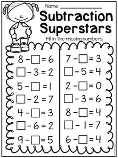 First Grade Addition and Subtraction Worksheets Missing subtraction numbers worksheet. First Grade Addition, Math Addition, Second Grade Math, First Grade Math Worksheets, Number Worksheets, School Worksheets, Addition And Subtraction Worksheets, Homeschool Math, Math For Kids