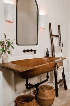 I Turned an Antique Dough Bowl Into a Sink, And It Totally Transformed Our Bathroom Rustic Bathroom Sinks, Cabin Bathrooms, Rustic Bathroom Designs, Guest Bathrooms, Downstairs Bathroom, Bathroom Ideas, Wood Sink, Home Interior Design, Dough Bowl