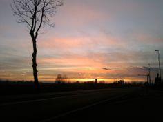 A beautiful sunset near Piacenza suburban areas - Italy