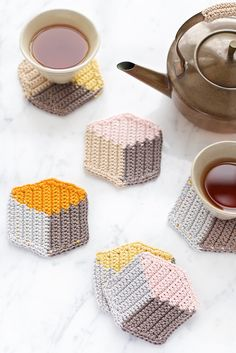 3D Cube-Style Crochet Coasters