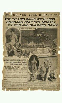 Cronica del hundimiento del titanic.  The New York Herald 16 del 4 de 1912.