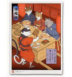 'Ramen Cats' Giclée Print