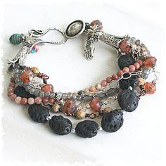Multi Strand Chunky Labradorite and Black Lava Stone Bracelet // Ecclectic, Boho Chic multistrand bracelet with Buddha Charm
