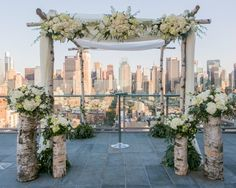 Chuppah from a NY Rooftop Modern Jewish wedding in October.  MazelTov http://www.themodernjewishwedding.com/?p=22158
